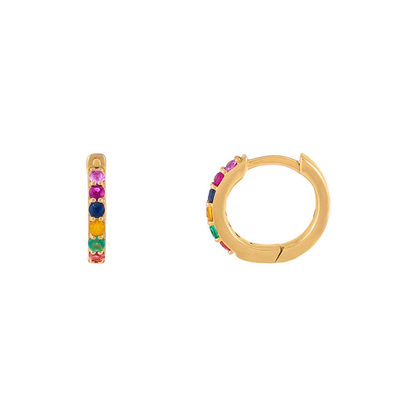 Multi-Color / Pair Diamond Mini Rainbow Huggie Earring 14K - Adina's Jewels