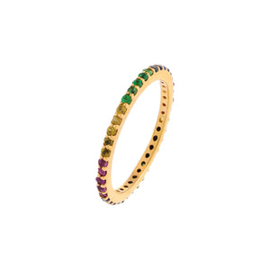 Diamond Rainbow Micropavé Eternity Band 14K