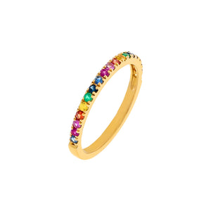 Multi-Color / 6.5 Diamond Thin Multi Color Band 14K - Adina's Jewels