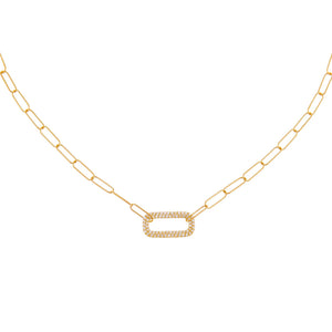 14K Gold Diamond Open Link Necklace 14K - Adina's Jewels