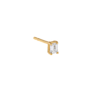 14K Gold / Single Diamond Baguette Stud Earring 14K - Adina's Jewels