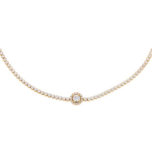 14K Gold CZ Illusion Circle Tennis Choker 14K - Adina's Jewels