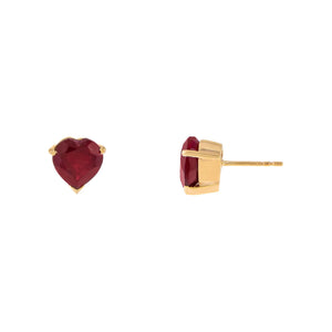 Ruby Heart Stud Earring 14K