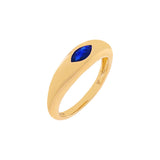 Sapphire Blue / 6.5 Diamond Colored Marquise Dome Ring 14K - Adina's Jewels