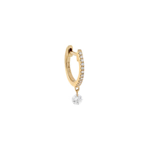14K Gold / Single Floating Diamond Huggie Earring 14K - Adina's Jewels