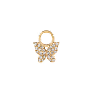 14K Gold / 6 MM Diamond Butterfly Earring Charm 14K - Adina's Jewels