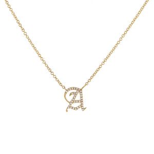 14K Gold / 10 MM Diamond Old English Initial Necklace 14K - Adina's Jewels