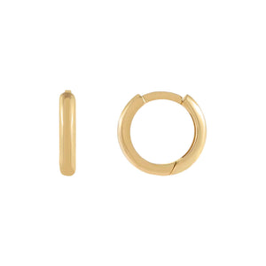14K Gold Small Solid Round Huggie Earring 14K - Adina's Jewels