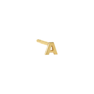 Gold / A / Single Tiny Solid  Uppercase Initial Stud Earring - Adina's Jewels