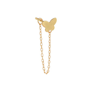 14K Gold / Single Solid Butterfly Chain Stud Earring 14K - Adina's Jewels
