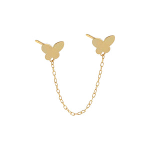 14K Gold / Single Double Butterfly Chain Stud Earring 14K - Adina's Jewels