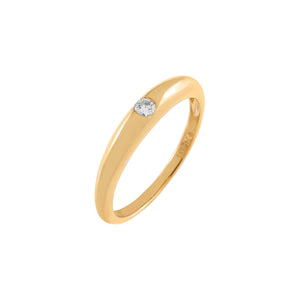 14K Gold / 6 Diamond Hollow Dome Ring 14K - Adina's Jewels
