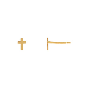 14K Gold Solid Cross Stud Earring 14K - Adina's Jewels