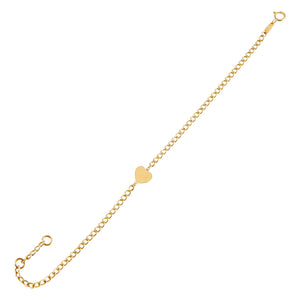 14K Gold Heart Cuban Chain Link Bracelet 14K - Adina's Jewels