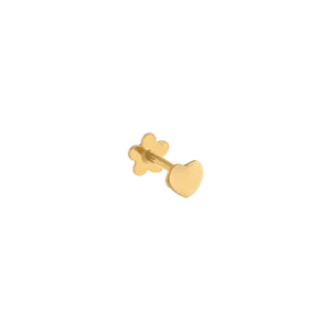 Heart Threaded Stud Earring 14K