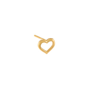 14K Gold / Single Open Heart Stud Earring 14K - Adina's Jewels