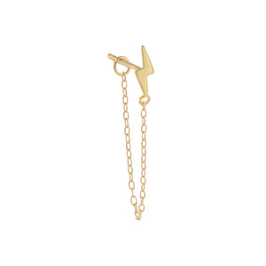 14K Gold / Single Solid Lightning Chain Stud Earring 14K - Adina's Jewels