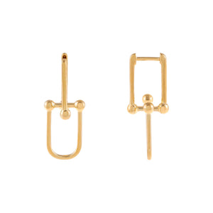 14K Gold Solid U Chain Huggie Earring 14K - Adina's Jewels