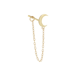 14K Gold / Single Solid Crescent Chain Stud Earring 14K - Adina's Jewels