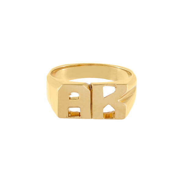 Double Initial Pinky Ring 14K - Adina's Jewels