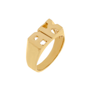 Gold / 3 Double Initial Pinky Ring 14K - Adina's Jewels