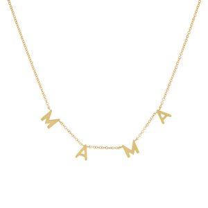 14K Gold Solid Mama Necklace 14K - Adina's Jewels