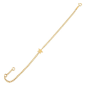 14K Gold Star Cuban Chain Link Bracelet 14K - Adina's Jewels