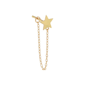 14K Gold / Single Solid Star Chain Stud Earring 14K - Adina's Jewels