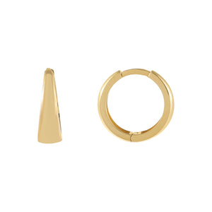 14K Gold Solid Wide Huggie Earring 14K - Adina's Jewels