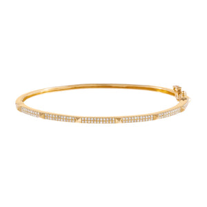 14K Gold Diamond Spike Pavé Bangle 14K - Adina's Jewels