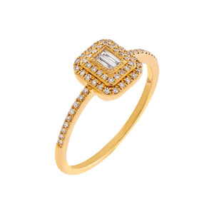 14K Gold / 7 Diamond Baguette Illusion Ring 14K - Adina's Jewels