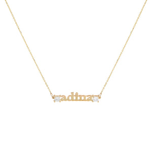 14K Gold Diamond Princess Cut Nameplate Necklace 14K - Adina's Jewels