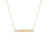 14K Gold Diamond Princess Cut Mama Necklace 14K - Adina's Jewels
