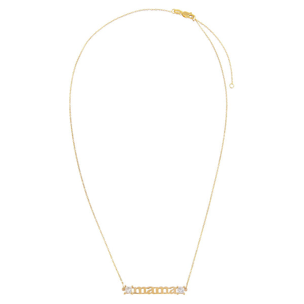 Diamond Princess Cut Mama Necklace 14K - Adina's Jewels