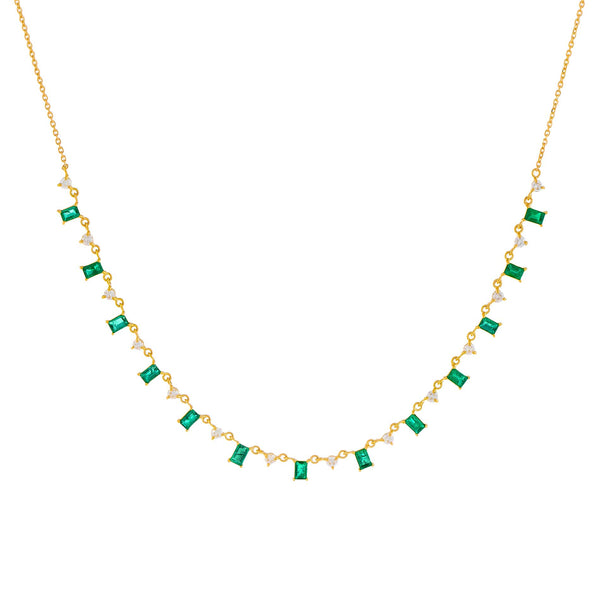 Emerald Green Diamond Emerald Baguette X Solitaire Necklace 14K - Adina's Jewels