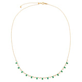 Diamond Emerald Baguette X Solitaire Necklace 14K - Adina's Jewels