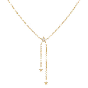 14K Gold Diamond Star Lariat 14K - Adina's Jewels