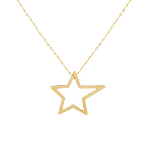 14K Gold Open Star Baby Gucci Necklace 14K - Adina's Jewels