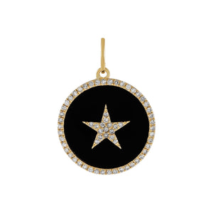 Onyx Diamond Onyx Star Charm 14K - Adina's Jewels