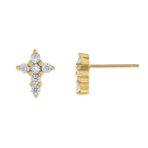 Gold CZ Cross Stud Earring - Adina's Jewels