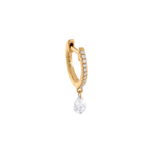 14K Gold / Single Diamond Teardrop Huggie Earring 14K - Adina's Jewels