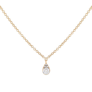 14K Gold Diamond Illusion Pear Necklace 14K - Adina's Jewels