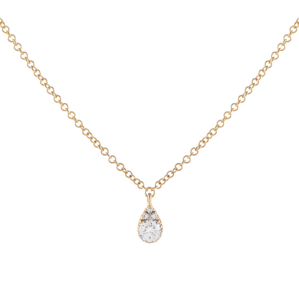 14K Gold Diamond Illusion Teardrop Necklace 14K - Adina's Jewels