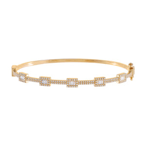14K Gold Diamond Illusion Baguette Bangle 14K - Adina's Jewels