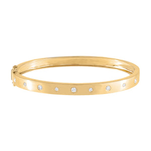 14K Gold Diamond Thick Multi Stone Bangle 14K - Adina's Jewels