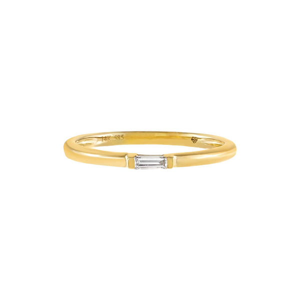 Diamond Dainty Baguette Ring 14K - Adina's Jewels