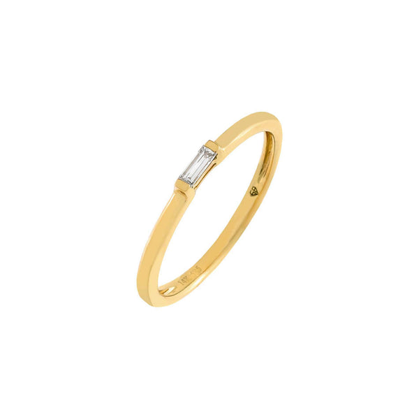 14K Gold / 7 Diamond Dainty Baguette Ring 14K - Adina's Jewels