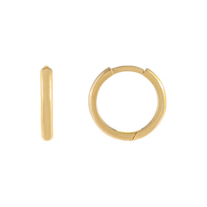 14K Gold Medium Solid Round Huggie Earring 14K - Adina's Jewels
