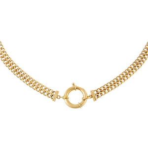 14K Gold Double Cuban Toggle Necklace 14K - Adina's Jewels