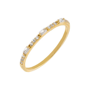 14K Gold / 5 Mini Baguette X CZ Stone Ring 14K - Adina's Jewels